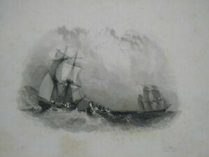 Rare gravure XIXème Walter Scott Voilier Le pirate Pourrat Frères Paris