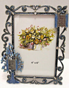 4X6 Tree Of Life Blue Jeweled Enamel Stones Picture Frame Bar Bat Mitzvah