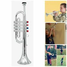 Click N/' Play Metallic Silver Kids Trumpet Horn Wind Instrument with 4 Colore...