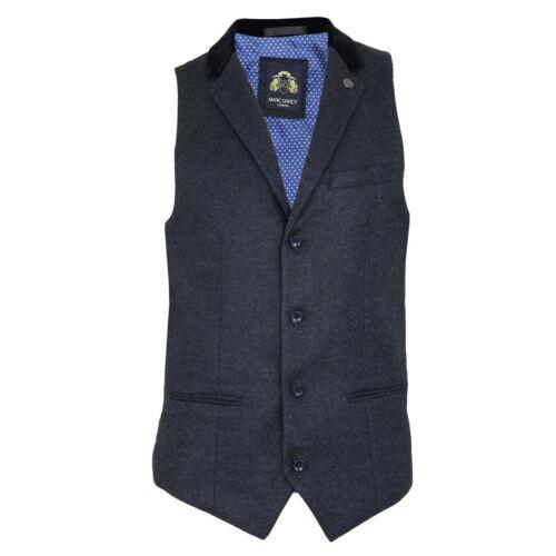 """Da Uomo Marc Darcy /""""Ronny/"""" Blu Heritage In Tweed con dettagli a contrasto blazer Gilet"""