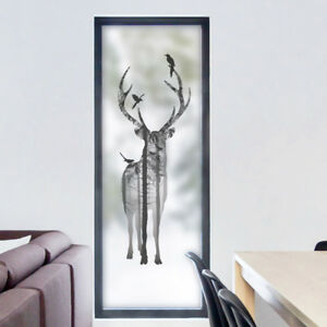 Bird in Deer Static Cling Glass Window Film Privacy Frosted Opaque