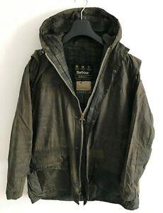 Mens-Barbour-Durham-Hooded-wax-jacket-Blue-coat-Medium-Large-M-L-Lightweight-2