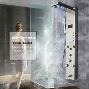 Thermostaic Shower Panel Tower Rain/&Waterfall w// LCD Display /& Handheld Black US