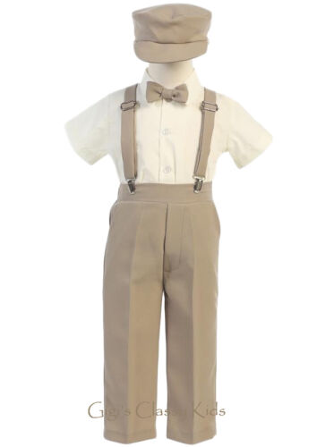New Baby Toddler Kids Boys Charcoal Suspender Pants Outfit Set Easter Party G825