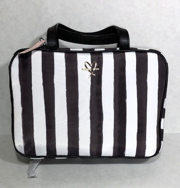 Victoria S Secret Hanging Case Cosmetic Travel Makeup Bag Striped Black White
