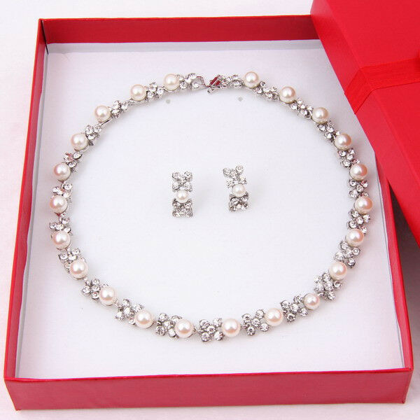 Pearl Necklace Set Wedding Bridesmaid Crystal SIlver Plated Jewelry Sets