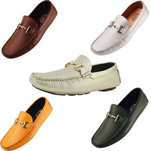Amali Mens Breathable Leather Driving Loafer Moccasin Casual Slip On Shoes