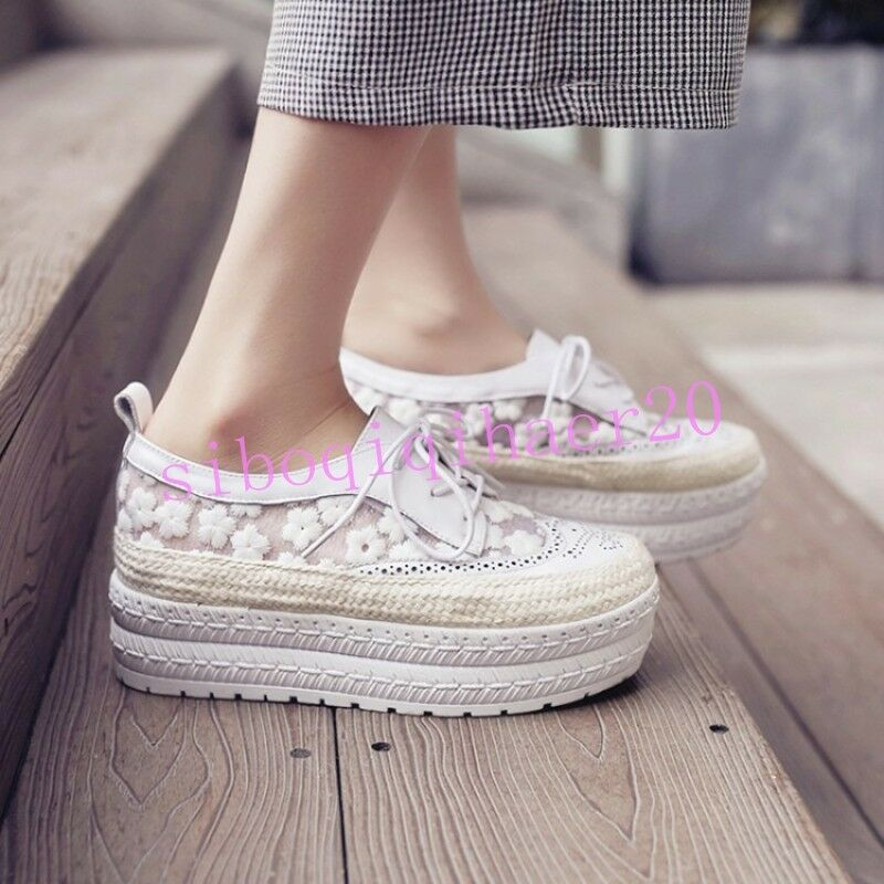 Fashion donna Platform scarpe Lace Up New Net Round Toe Loafers Sweet Girls Dimensione