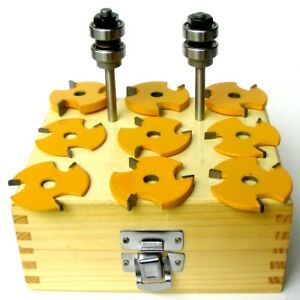 "Assembly 6 cutters /& 2 arbors  Router Bit Set sct-888 8pc 1//4/"" Shank Slot"