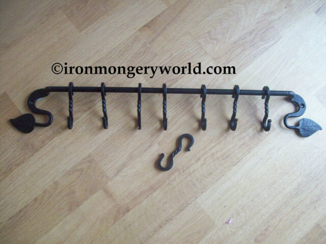 BLACK ANTIQUE IRON BLACKSMITH HAND MADE FORGED KITCHEN S HOOK POT PAN RACK RAIL