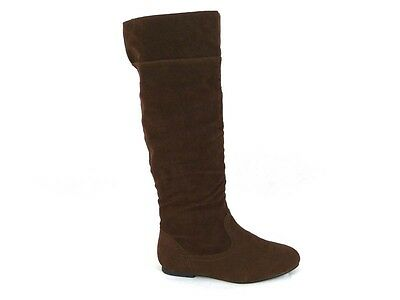 Para Mujer Damas Plana puño sobre la rodilla mitad de la pantorrilla tirar de Pixie Slouch Botas Talla 3-8