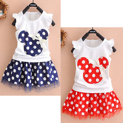 Lovely Kids Baby Girls Minnie Mouse Party Dress Vest Skirt Toddler Clothes 1-4Y