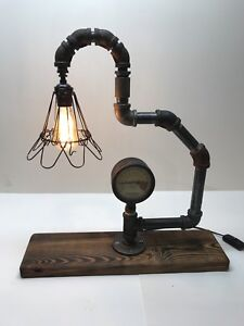 Image Is Loading Black Iron Pipe Table Lamp With Vintage