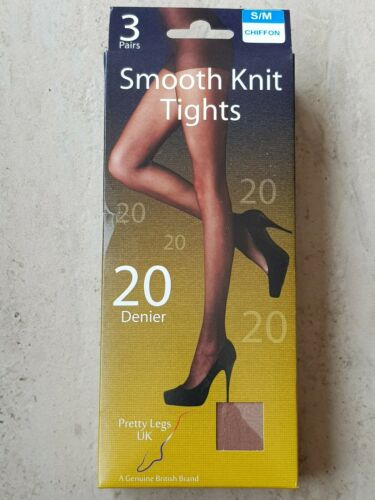 Pretty Legs smooth knit tights size S//M  20 denier Chiffon Pack of 3 Brand New