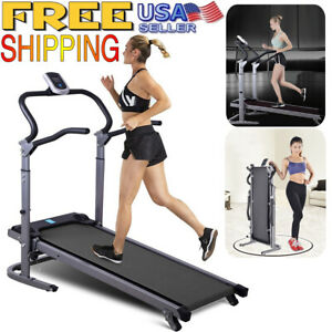Folding Mechanical Treadmill Portable Incline Machine Running Gym Fitness NEW