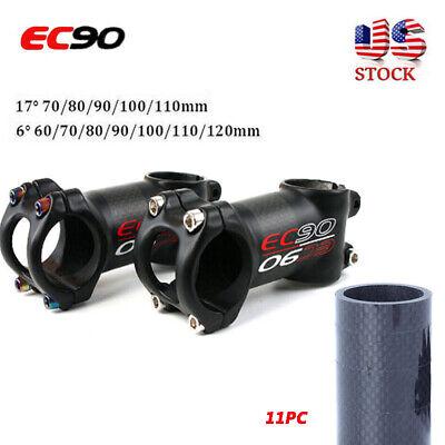 "EC90 Carbon+AL MTB Stem 60-90mm Road Bike Cycle 1-1//8/"" Threadless Bar Stem 31.8"