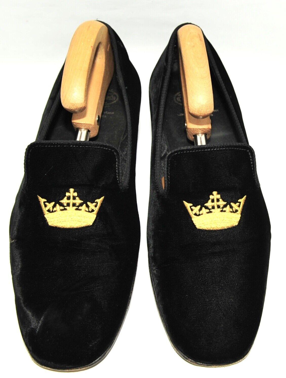 Gran Corona De Terciopelo Negro para Hombre Church'S Mocasines Zapatillas 10.5 UK 44.5 EU