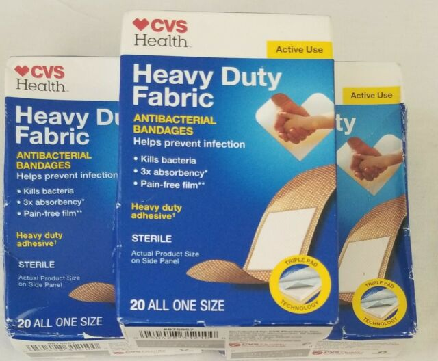 3 Boxes Of 20 Each Cvs Heavy Duty Fabric Antibacterial Bandages