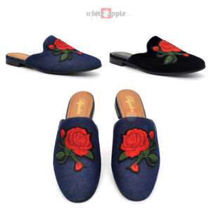 a54e0d6295b Women Loafer Backless Mule Slip On Flat Slippers Rose Embroidery Low ...