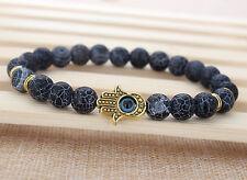 "Men's Black Weathering Frost Agate Gemstone Beaded Energy Hamsa Bracelet 7.8"""