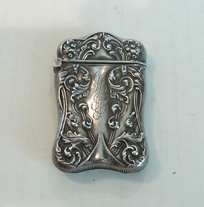 ANTIQUE AMERICAN ART NOUVEAU STERLING SILVER EMBOSSED MATCH SAFE / VESTA CASE