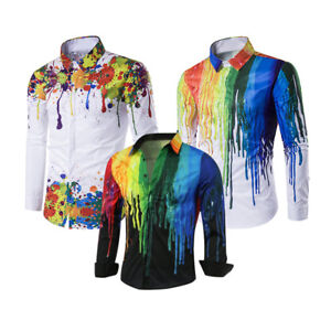 Mens Long Sleeve Ink Paint Print Shirts Casual T-Shirt Slim Fit Basic Tee Tops