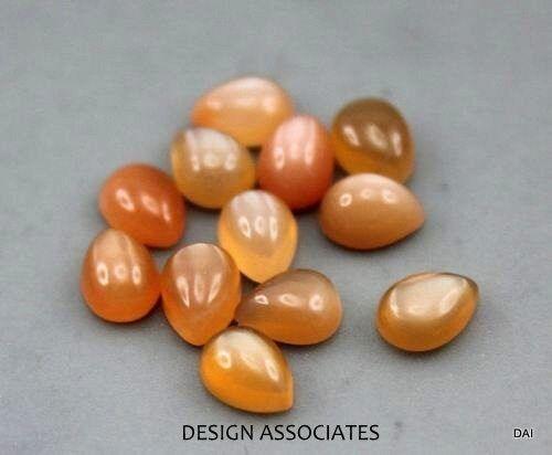 Naranja Natural Piedra Lunar 6X4 mm pera cortada AAA 4 Pc Set