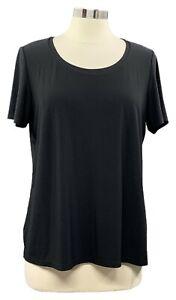 SUSAN-GRAVER-size-M-black-Liquid-Knit-short-sleeve-scoop-neck-top