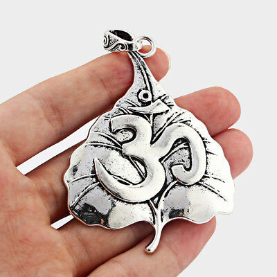 2pcs Large Antique Silver OM YOGA Charms Pendant DIY Jewelry Findings