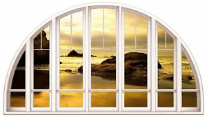 Huge-3D-Arched-Window-Peacefull-Sunset-Wall-Stickers-Film-Mural-Art-Decal-12