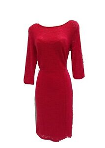 M-amp-CO-NEW-49-SHEER-RASPBERRY-LACE-WIGGLE-PENCIL-COCKTAIL-DRESS-UK-10-XMAS