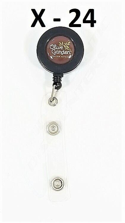 24 Olive Garden Retráctil Badge Holder Carrete Ronda correa de plástico con Broches De Metal