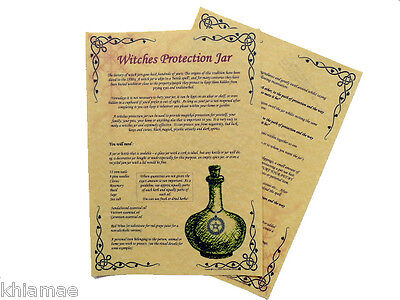 Witches Protection Jar book of shadows pages A4 Parchment poster wicca pagan BOS