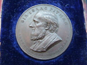 Sir Isaac Pitman inventor of Phonography centenary medallion 1931 - Spink boxed