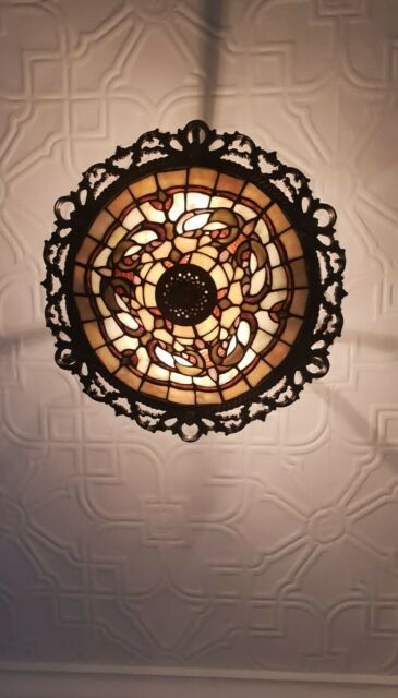 Beautiful Tiffany Style Leaded glass Semi Flush Ceiling Light With Fittings