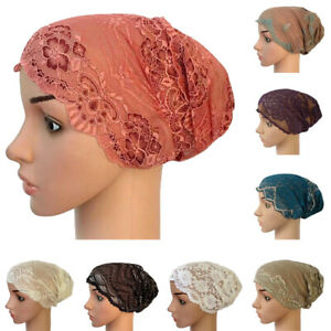 Women-Hijab-Hat-Lace-Ninja-Underscarf-Head-Islamic-Cover-Bonnet-Cap-Scarf-Muslim