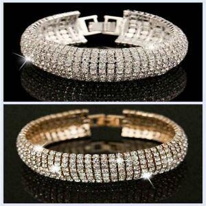 Crystal Bracelet Diamante Rhinestone Bangle Gem Bridal Wedding Gold Silver