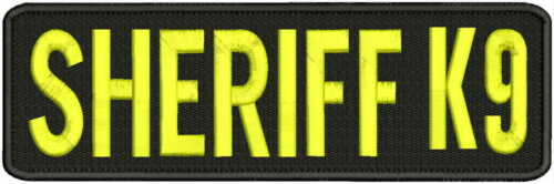 Sheriff k9 embroidery patches 3x10 hook on back yellow letters