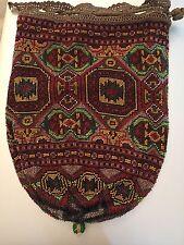 Antique 20's Micro Beaded Handbag Purse Large Pouch Bead Oriental Rug Geometric