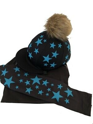 Black with Turquoise Scattered stars Cross Country Base layer//Silk