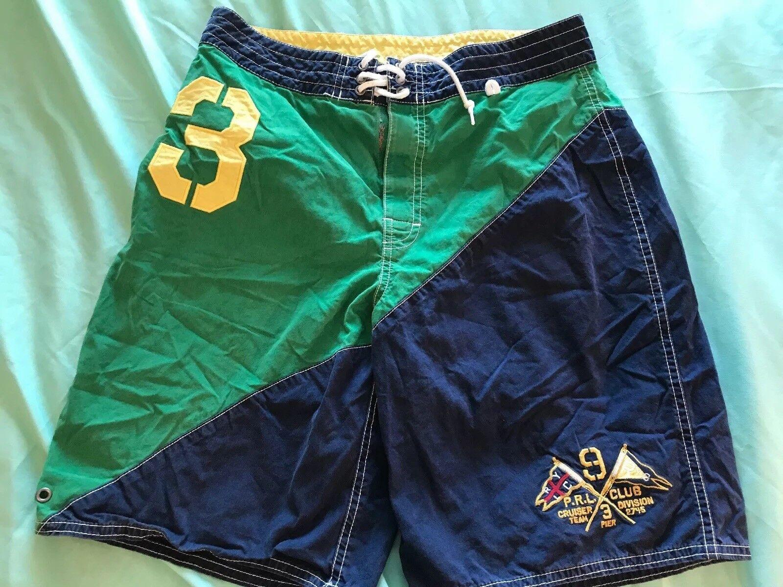 794d7f6f PRL CLUB Polo Ralph Lauren Embroidered Swim Trunks Board Shorts SZ 30 TS8