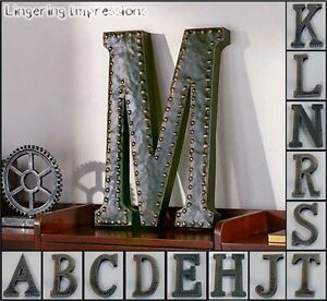 Industrial Letters Wall Hanging Vintage Metal Monogram Initials Industrial Style Wall Hanging