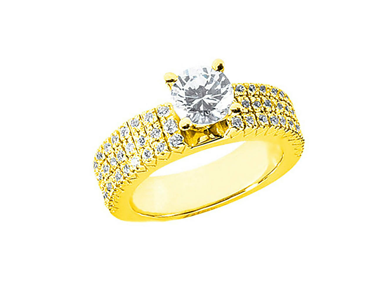 1.10Ct Round Cut Untreated Diamond 3Row Pave Engagement Ring Solid 14k gold