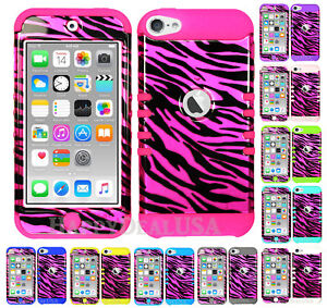 For-Apple-iPod-Touch-iTouch-5-6-KoolKase-Hybrid-Cover-Case-Zebra-Pink