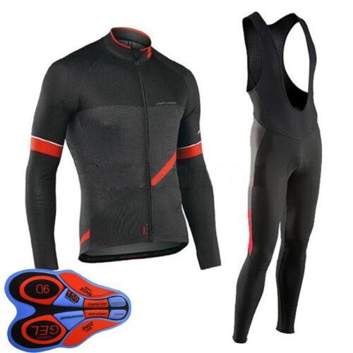2020 Mens Cycling Long Sleeve Jersey Bib Pants Kits Bike Clothing Sports Uniform