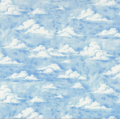 Clouds Blue Sky Nature Landscape Quilt Fabric Craft Fat Quarter or By Metre NEW