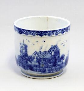 99845082 Céramique Pot De Fleur Bleu Décor Vue Du Village