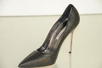 New Manolo Blahnik BB 115 Studs Black Leather Python Heels Pumps Shoes 40.5 41