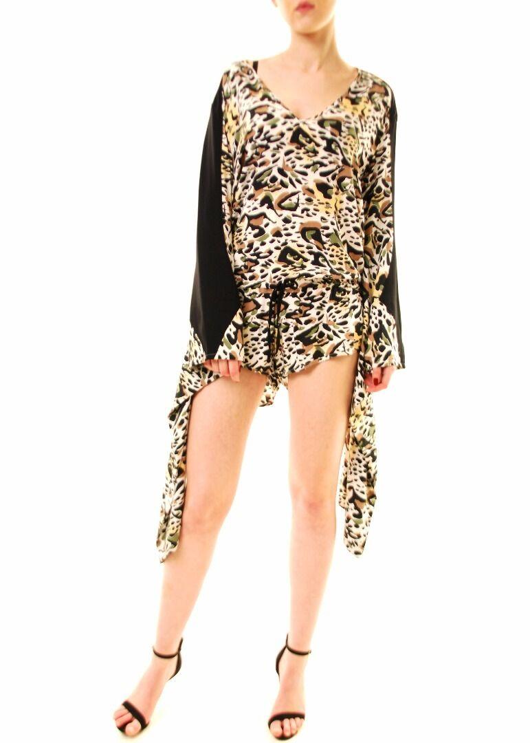 One Teaspoon Women's Leopard Print Playsuit Multi color Size S RRP  158 BCF612