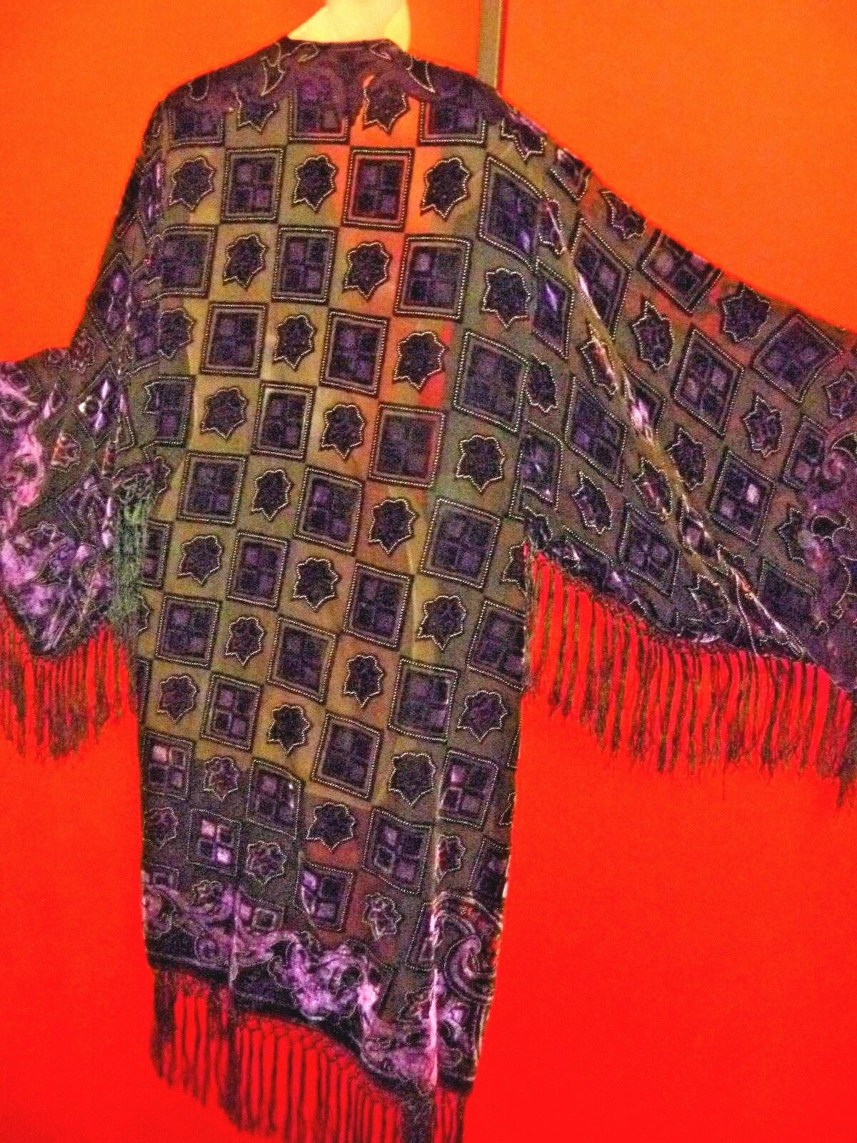 Púrpura Negro Terciopelo Burnout De Seda Con Flecos Boho Kimono Talla Grande Abrigo de ópera   Precio por piso
